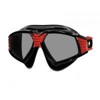 Очила за плуване SONIC, черен силикон, рамка в черно и червено