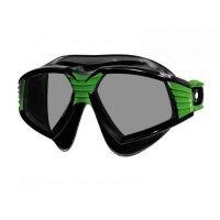 Очила за плуване SONIC, черен силикон, рамка в черно и зелено