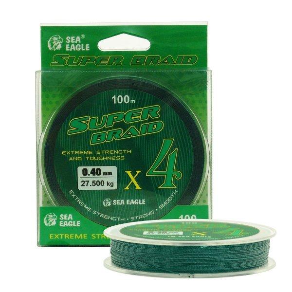 Плетено влакно Super Braid X4, зелено, 100м
