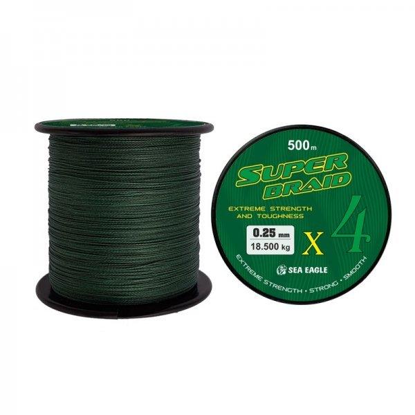 Плетено влакно Super Braid X4, зелено, 500м
